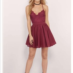 Tobi Mila Skater Dress in Burgundy